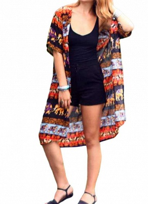 Summer Cardigan Elephant Print Boho Loose Women's Kimono_1