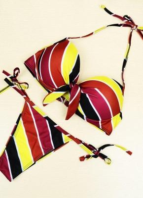Contrast Stripe Underwire Padded Cup Tie Sexy Bikini Set Swimsuit_1