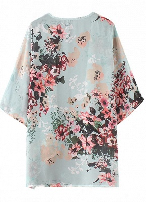 Summer Women Floral Chiffon Cardigan Open Front Half Sleeve Kimono_6