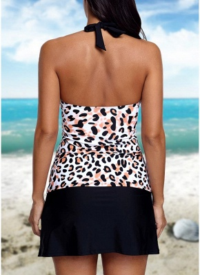 Women Halter Leopard Flyaway Tankini Top And Solid Skirted Swimsuit_3