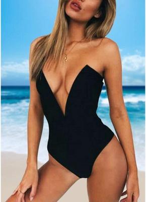 Women One Piece Sexy Bikini Monokini Swimsuits Deep V-Neck Backless Solid Swimwear Beach Wear_2