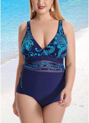 Women Plus Size One Piece Swimsuit Vintage Print Padded Monokini  Swimwear_2