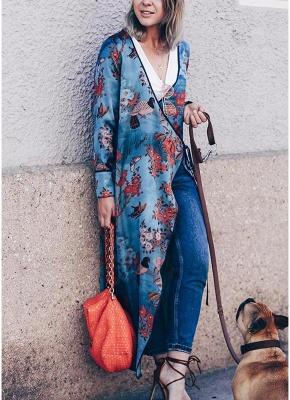 Vintage Women Kimono Floral Bird Print V Neck Tied Ethnic Oriental Outerwear_5