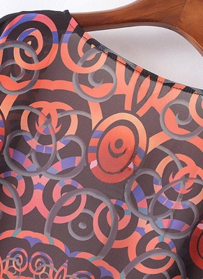 Chiffon Geometric Print Fringe Loose Long Kimono_5