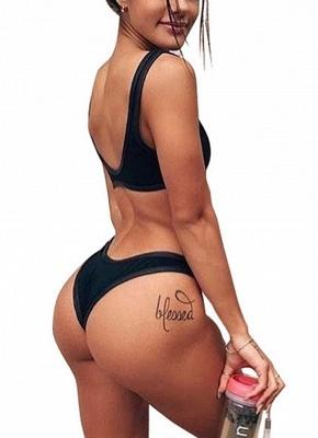 Women One Piece Swimsuit  Plunge Neck Cut Out Backless Swimwear Beachwear_4
