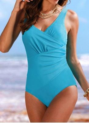Women's Vintage Plus Size Ruffled Backless Monokini Swimsui_1