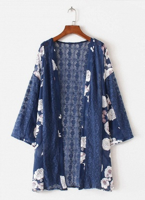 Summer Chiffon Cardigan Floral Print Hollow Out Women's Kimono_3