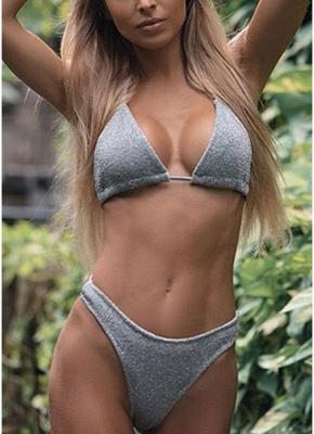 Women Glitter Halter Sexy Bikini Set Bling Sequin Biquini  Swimwear_4