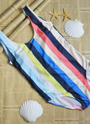 Women Striped Swimsuit Backless High Cut  Beach Playsuit_4