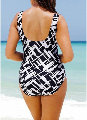 Women Large Size One-piece Swimsuit Contrast Color Stripes  Swimwear_4