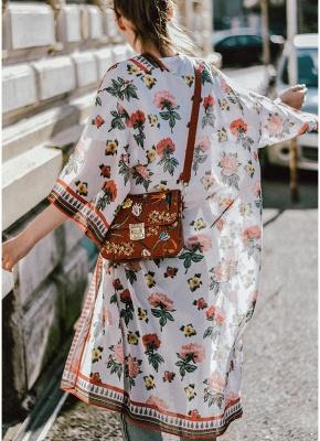 Women Chiffon Kimono Cardigan Sexy Bikini Cover Ups Flower Print Boho Long Beachwear_3