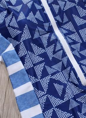 Women One Piece Swimsuit  Geometric Stripe Zipper Contrast Bodysuit Beach Wear Swimwear_6