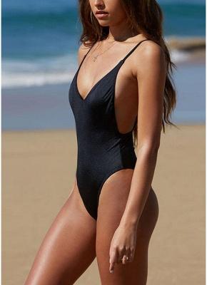 Women One Piece Swimsuit Backless  Plunge Neck Swimwear Beachwear Monokini_4