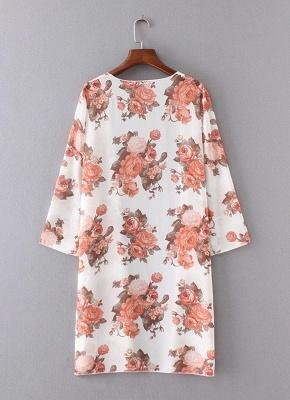 Boho Chiffon Floral Print Open Front Women's Long Kimono_6