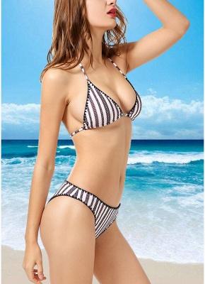 Contrast Striped Triangle Halter Push Up Sexy Bikini Set_3