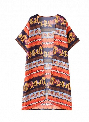 Summer Cardigan Elephant Print Boho Loose Women's Kimono_3
