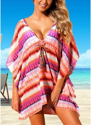 Women Beach Cover Up Dress Bohemian Geometric Print V-Neck Loose_1