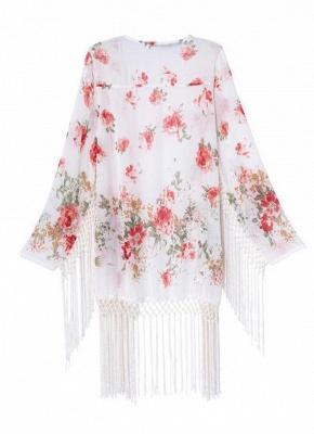 Fashion Floral Print Tassel Long Sleeve Chiffon Kimono_3