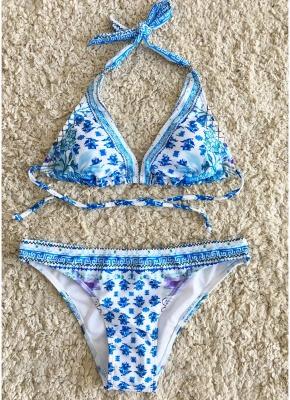 Women Flower Sexy Bikini Set Self-tie Backless Low-rise Waist Swimwear Two Pieces_3