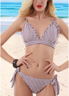 Women Striped Wire Free Padded Cup Low Tie Waist Thong Biquini Sexy Bikini Set_1