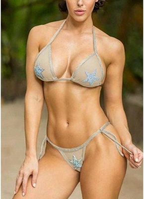 Women Sexy Bikini Set Sequined Stars Tied Waist Padded Two Pieces Swimsuit Swimwear_1