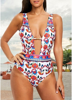 Flower Print Plunge V Neck High Waist Backless One Piece Swimsuit_1