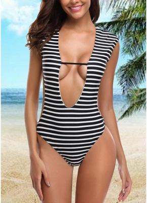 Women One-piece Swimsuit Striped Cutout Back  Swimwear_1
