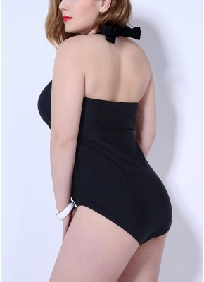 Plus Size Halter Ruched Lace-Up Wireless One-Piece Swimsuit_6