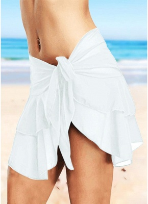 Sheer Mesh Ruffles Solid Color Sexy Bikini Skirt_1