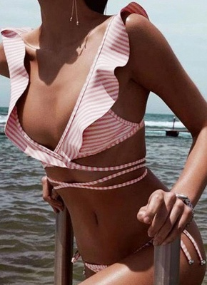 Women  Ruffles Bandage Sexy Bikini Set Swimsuit_1