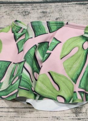 Off the Shoulder Ruffles Striped Leaf Print Bathing Sexy Bikini Set_6