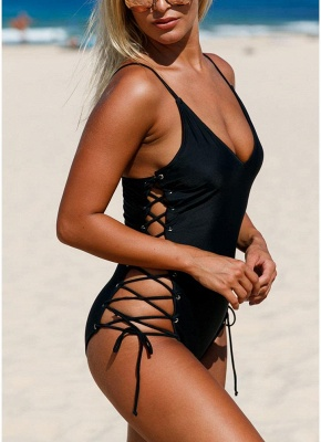 Women One Piece Swimsuit Swimwear Deep V-Neck Lace Up Sides Bathing Suit_6