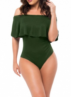 Off Shoulder Ruffled Bodysuit One Piece Swimsuit_2