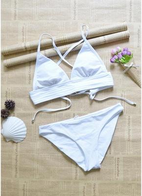 Women Strappy Sexy Bikini Set Deep V-Neck Tie Back Low Waist Swimwear Swimsuit Beach Bathing Suit White_5