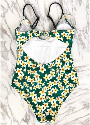 Women One-Piece Swimsuit Floral Print Cut Out Back  Playsuit Jumpsuit Rompers_7