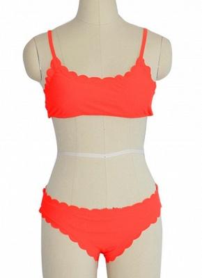 Solid Color Push-Up Padded Top Bottom Sexy Bikini Set_3