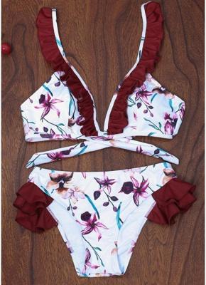 Women Floral Sexy Bikini Set Push Up Padded Bandage Swimsuit  Swimwear_1