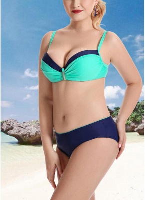Women Plus Size Two Piece Sexy Bikini Set Triangular Spaghetti Strap Swimwear_5