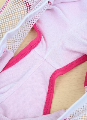 Color Block Halter Padded Two Piece Rose Sexy Bikini Set_8