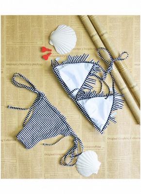 Women Swimwear Striped Halter Bandage Backless Tassel Swimsuit Beach Wear Sexy Bikini Set_6