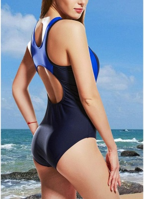 Women One-Piece  Color Splice Sleeveless Padding Wireless Swimwear Swimsuits_5