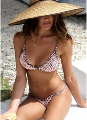 Women Leopard Sexy Bikini Set Strappy Padding Wireless Backless_1