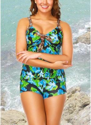 Flower Strap Tankini Top Shorts Set Bathing_1
