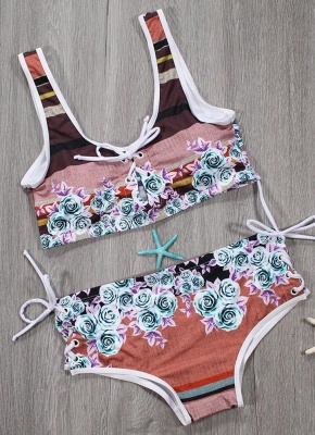 Women Sexy Bikini Set Floral Geometric Print Lace-Up Wireless Swimwear Swimsuits Two Piece Beach Wear_5