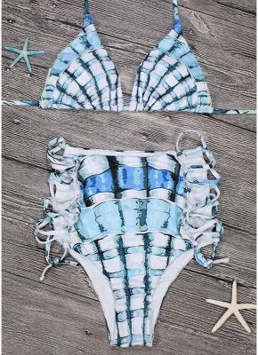 Women Two Piece Sexy Bikini Set Halter Plaid Print Padded Bandage Criss Over High Waist  Swimwear_6