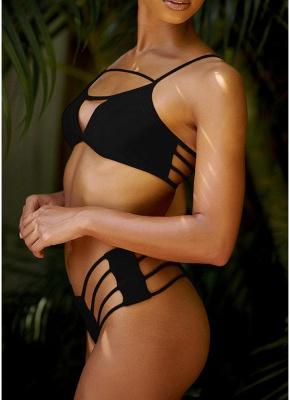 Women Sexy Bikini Set Strappy Bandage Push Up Wireless Swimwear Beach Wear_2