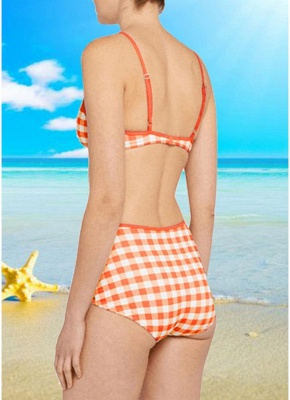 Women Plaid Print Sexy Bikini Set Backless Summer Beach Bathing Suit Swimwear_3