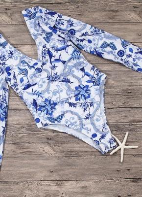 Women Vintage Porcelain Floral Print One Piece Swimsuit_4