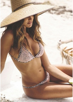 Women Leopard Sexy Bikini Set Strappy Padding Wireless Backless_6