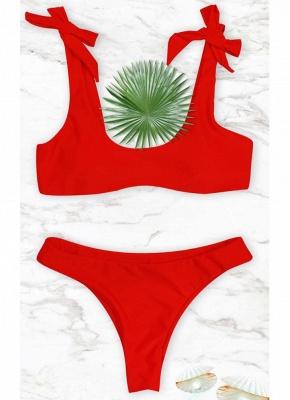 Women Sexy Bikini Set Tied Bow Padded Wireless Low Waist Solid Two Piece_1